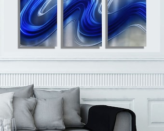 Blue & Silver Abstract Metal Wall Art - Modern Painting - Contemporary Wall Decor - Home Accent - Electric Blue 3 by Jon Allen