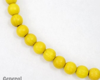10mm Yellow Wood Bead (50 Pcs) #DXH001