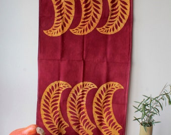 red and gold ferns floursack towel