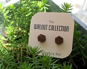Walnut Hexagon Earrings