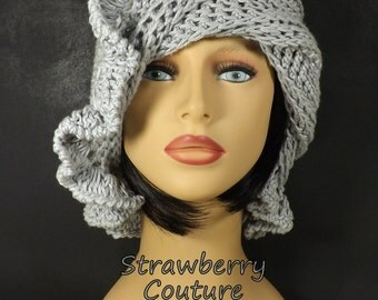 Gray Crochet Hat Womens Hat, Womens Summer Hat Women, Crochet Beanie Hat, Dove Gray Hat, Cotton Beanie Hat, CYNTHIA Womens Formal Hat