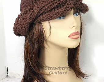 Crochet Hat Womens Hat Trendy,  Crochet Womens Turban Hat,  Crochet Beanie Hat,  Brown Beanie,  Brown Hat,  Samantha Turban Hat