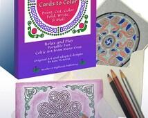 Celtic Mandala Coloring Cards Digital High Resolution PDF File 16 Original Card Designs 18 Original Medallions for Layering