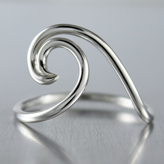 Wave Design Bands: Silver Wave Ring Simple Silver Ring Sterling Silver Rings