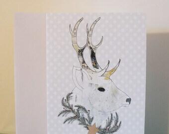 Deer Christmas Cards , Blank Greeting Cards , Holiday Card, Woodland Christmas Deer
