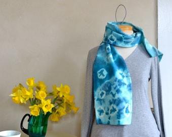 Hand Eco Dyed Scarf Bohemian Tie Dye Circles Bright Aqua Light Blue Wool Shibori Style