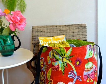 Bright Tote Bag / Lined Market Bag Festive Print / Medium Shopping Bag