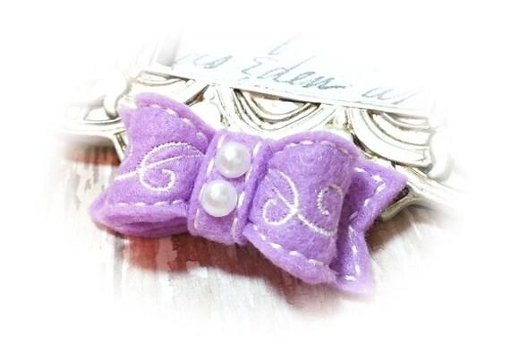 Lilac Dog Bow, Embroidered Dog Bows, Pet Hair Bow, Scroll work, Dog Hair Bow, Girl Dog Bow