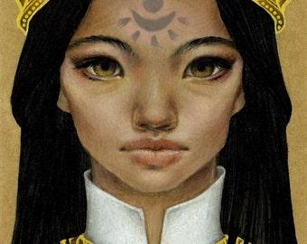 Narangerel - original mixed media painting illustration art by Tanya Bond - pop surrealism portrait mongolian princess sun light