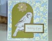Thinking of You Sympathy Get Well Card Canvas Bird Blue Green
