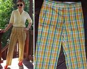 RESERVED // Super FLY 1960's 70's Vintage Men's Bright Orange + Blue Plaid Cotton Seersucker Golf Pants // size Small 32 // by Corbin
