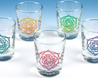 Celtic Star Shot Glasses - Set of 5 - Inlaid Style - Etched and Painted Glassware - Custom Made to Order