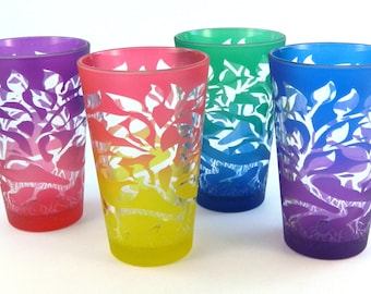 Tree of Life 12oz Pint Glasses - Set of 4 - Etched and Painted Glassware - Ready to Ship