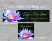 Lily Etsy Banner, Shop Cover Banner, Water Lily Banner, Lotus Shop Banner, Etsy Banners, Flower Banner, Gold Foil Banner, Purple Banner