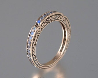 CARYATID 14k rose gold band with Rainbow Moonstones