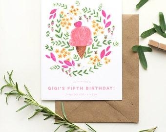ice cream party | customizable birthday invitations