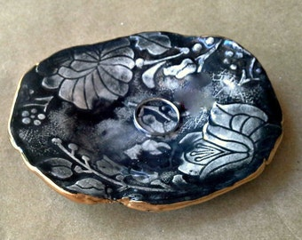 Ceramic Ring holder Dish  edged in gold Black and White