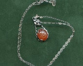 SORRENTO Sterling Necklace Carved Carnelian SCARAB Pendant Twisted Rope and Flower Setting 1700