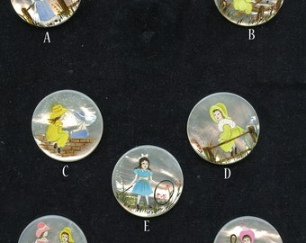 Kate Greenaway Hand Painted Shell Studio Button (1) Choice Mother of Pearl Children Child Illustrations 1794