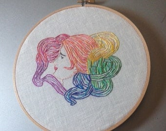 head full of colors - hand embroidered art nouveau inspired wall hanging / hoop art