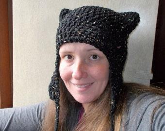 Purrfect Kitty Earflap with Ties Hat-Neon Fleck Black-Cat Ear Hat