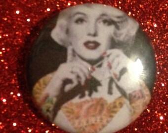 Tattooed Marilyn Monroe 1 Inch Pin