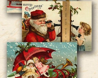 Victorian Christmas Children in 2.5x1.9 inches -- piddix digital collage sheet no. 424