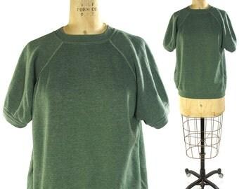 60s SOFT Sweatshirt / Vintage 1960s Cotton Short Sleeve Pullover Sweatshirt in Sage Green / Super Soft & Worn In / Women's Size Large