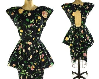 80s Peplum Dress / Vintage 1980s Floral Cotton Sundress with Ruffle Mini Over Skirt / Keyhole Open Back / Knee Length Pencil Skirt / Medium