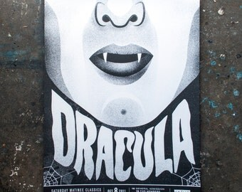 Dracula - Cult Classic Movie Poster for The Enzian Screen-Printed Handmade Horror Film Scary Movie Graphic Print Collectible Vampire Goth
