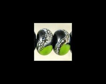 Handmade Glass Lampwork Bead Pair Small 11x7 mm Black and Bright Green