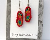 Textile Art Earrings//wires or posts//Meg Hannan//millefiori artwork//CARMEN MIRANDAS HAT//pierced dangle//Red Magenta Teal//bright colors