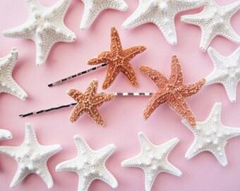 Sugar Starfish Bobby Pins, Mermaid Hair Clip, Nautical Accessories , Starfish Hair Clip, Beach Weddings