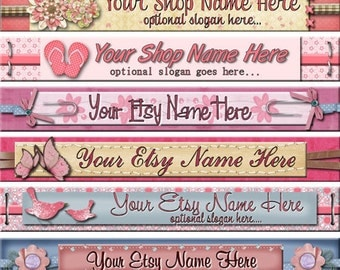 Raggedy Dreams  Designs - Premade Etsy Shop Banner - Etsy Banner - SHOP ICON - Scrapbook Floral Ribbons Buttons and Bows
