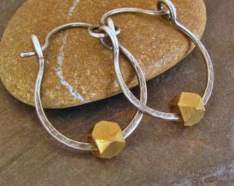Sterling Silver Hoop Earrings Rustic Jewelry Lightweight Earrings 3/4 Inch Small Hoops Mixed Metal Jewelry Hammered Silver Brass Hinged Hoop