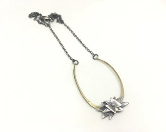 Horseshoe necklace brass and sterling silver necklace statement necklace pinwheel necklace floral necklace