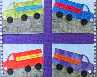 Big Trucks Quilted Wall Hanging by Made Marion