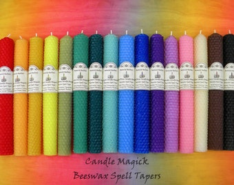 """Candle Magick 8"""" Unscented Beeswax Spell Taper - You Pick the Color - Manifest Changes, Pagan Altar Tools, Intention Candles, Empower, Wicca"""