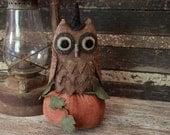 Primitive Halloween Owl and Pumpkin, Halloween Decor, Folk Art Owl, Fall Decoration