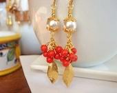 White Pearl Earrings, Red Coral Gold Dangle Earrings, Gold Earrings