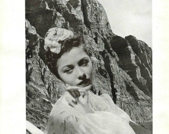 Mountain Art, Scenic Landscape, Original Wall Art on Book Page, Unique Artwork, Original Collage, Altered Book Page