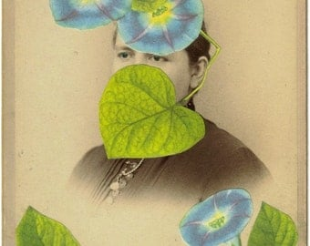 OOAK Mixed Media Original Art, Morning Glory, Blue Flower, Naturalist Nature Art, Victorian Picture Photo, Antique Artwork, Old Photograph
