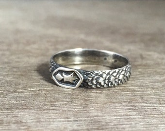 Dragon scale ring - made to order - shield ring - snake ring - delicate ring - unique ring - stacking ring - sterling silver ring