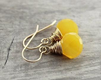 Light Orange Earrings, Gold Filled Earrings, Gemstone Dangle Earrings, Wire Wrap Earrings, Chalcedony Gemstone Earrings, Dangle Drop