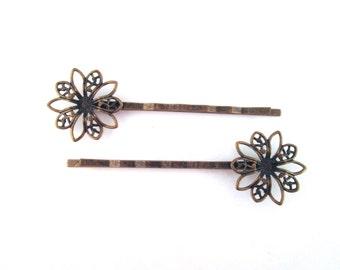 Round brass filigree bobby pins, 60x20mm, Pick your amount, C114