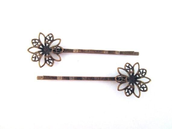 10 round brass filigree bobby pins, 60x20mm