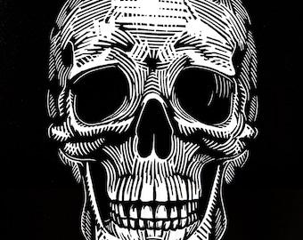 Calavera Skull Linocut Dia de los Muertos Art Print