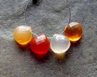 SALE - AAA Mexican Fire Opal Faceted Heart Briolettes- 7-8mm - 4 beads