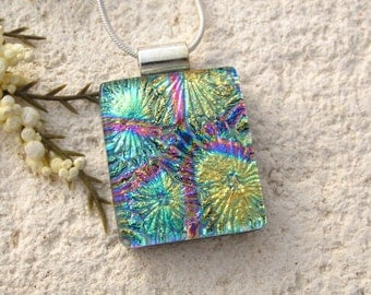 Petite Necklace, Aqua Pink Gold Pendant,  Dichroic Jewelry, Fused Glass Jewelry, Fused Glass Pendant, Dichroic Necklace, 073116p101