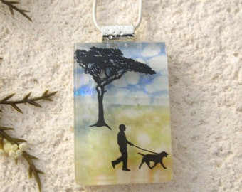 Dog Necklace, Dichroic Glass Jewelry, Dichroic Pendant, Dog Jewelry, Fused Glass Jewelry, Necklace, Glass Jewelry Dog Walking, 091516p101